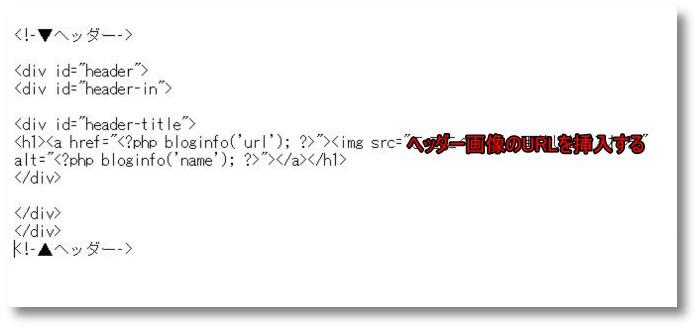 ヘッダー画像のURLを挿入すると文字を書き込みました