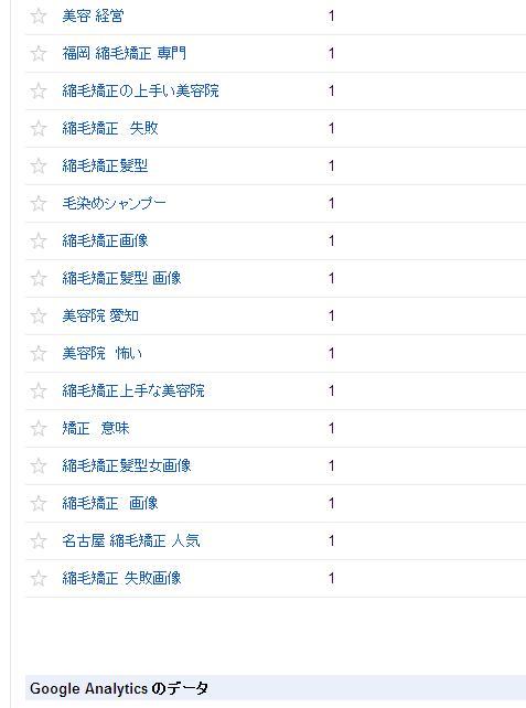 名古屋NO1の縮毛矯正専門美容室のウェブマスターツールの検索クエリの画像です。⑲