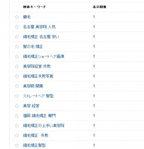 名古屋NO1の縮毛矯正専門美容室のウェブマスターツールの検索クエリの画像です。⑰