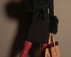 Basia Szkaluba wearing sexy red leather Trussardi Laced Thigh High Stiletto Boots. Trussardi F/W 2011